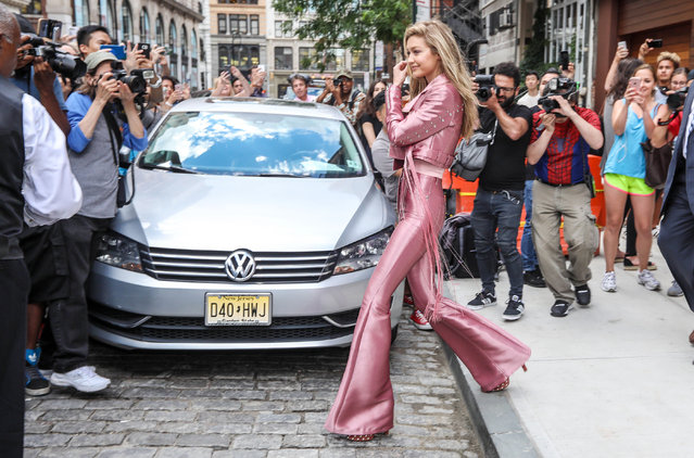 The model Gigi Hadid receives attention in Soho, New York, USA on June 27, 2017. (Photo by Broadimage/Rex Features/Shutterstock)