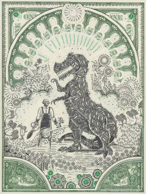 Way of the Dinosaur, cut one-dollar bills. (Photo by Mark Wagner)