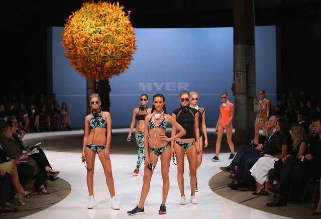 Rachael Finch showcases designs by Seafolly during the Myer Spring 2015 Fashion Launch on August 13, 2015 in Sydney, Australia. (Photo by Don Arnold/Getty Images)
