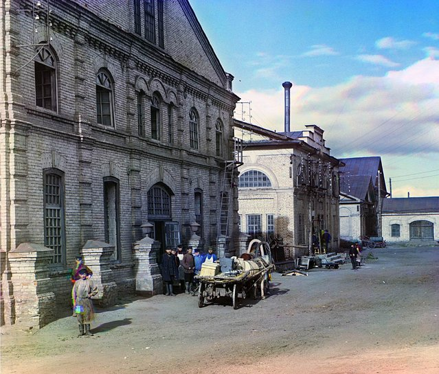 Photos by Sergey Prokudin-Gorsky. Mechanical shops for the finishing of artistic castings (Kasli Iron Works). Russia, Perm Province, Yekaterinburg uyezd (district), Kasli town, 1909