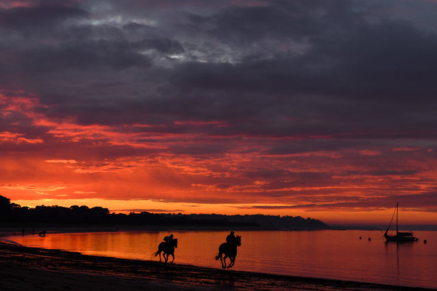 Horses from Kevin Corstens racing stables in action during a trackwork session at Balnarring Beach in Balnarring, Australia, 10 April 2020. (Photo by Vince Caligiuri/EPA/EFE)