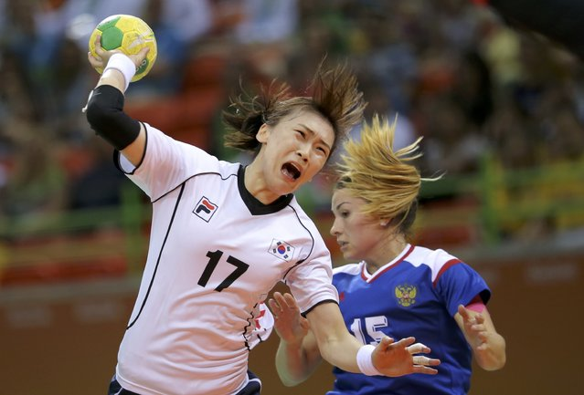 2016 Rio Olympics, Handball, Preliminary, Women's Preliminary Group B Russia vs South Korea, Future Arena, Rio de Janeiro, Brazil on August 6, 2016. Sim Hae-In (KOR) of South Korea and Marina Sudakova (RUS) of Russia in action. (Photo by Marko Djurica/Reuters)