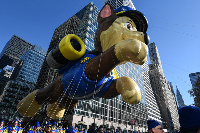 The Chase balloon from Paw Patrol floats on 6th Ave. during the annual Macy's Thanksgiving Day parade on November 23, 2017 in New York City. (Photo by Stephanie Keith/Getty Images)