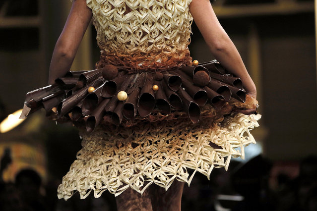 A model presents a creation at the 20th Salon du Chocolat, (Paris Chocolate Show) in Paris October 28, 2014. (Photo by Gonzalo Fuentes/Reuters)