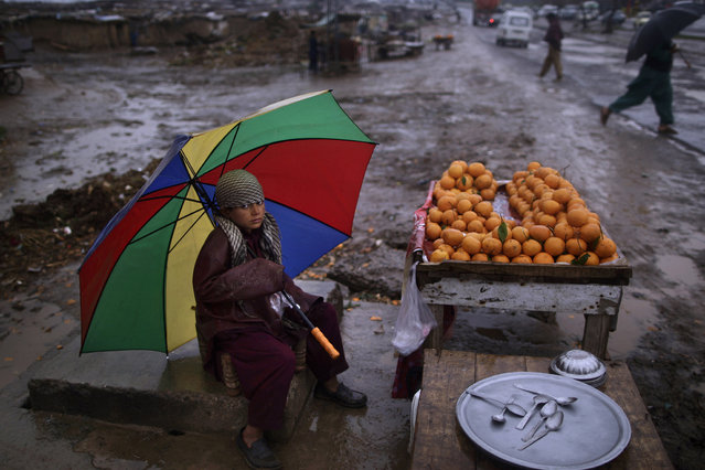 Pakistani boy, Haroun Matiullah, 11, holds an umbrella to shelter himself from rain, while sitting on a roadside hoping to sell his oranges, on the outskirts of Islamabad, Pakistan, Thursday, Thursday, March 14, 2013. Haroun and his family fled Pakistan's tribal areas in 2009, due to fighting between militants and the army, and took refuge in Islamabad. (Photo by Muhammed Muheisen/AP Photo)