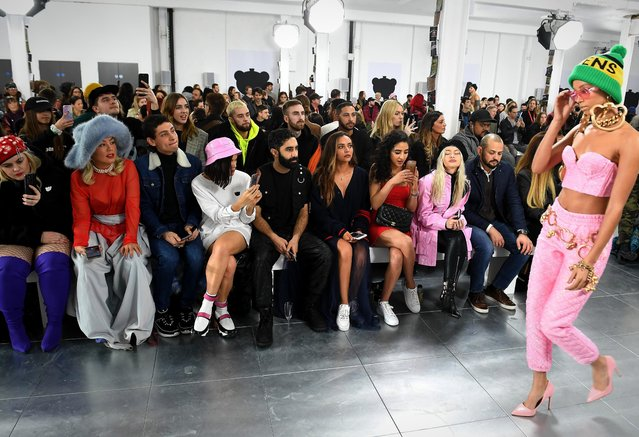 Feleicity Hayward, Soki Mak, Kyle De'Volle, Kari Marni, Amir Amor, Jade Thirwall, Kara Marni and Alice Chater attend the Nicopanda FW18 LFW Show during London Fashion Week February 2018 at TopShop Show Space on February 19, 2018 in London, England. (Photo by Jeff Spicer/Getty Images for Nicopanda)