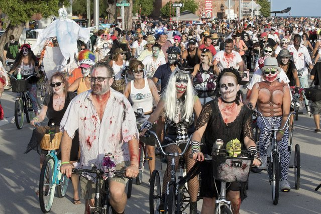 "Costumed participants in the Zombie Bike Ride pedal down South Roosevelt Boulevard in Key West, Florida, October 25, 2015. More than 8,500 ""zombies"" cycled for more than four miles during the event that coincided with the beginning weekend of Key West's annual 10-day Fantasy Fest costuming and masking celebration that continues through November 1st. (Photo by Rob O'Neal/Reuters/Florida Keys News Bureau)"