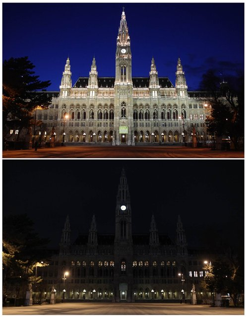A combination picture shows the city hall in the evening of March 21, 2013 (top) and during Earth Hour in Vienna March 23, 2013. Earth Hour, when everyone around the world is asked to turn off the lights for an hour from 8.30 pm local time, is meant as a show of support for tougher actions to combat climate change. (Photo by Heinz-Peter Bader/Reuters)