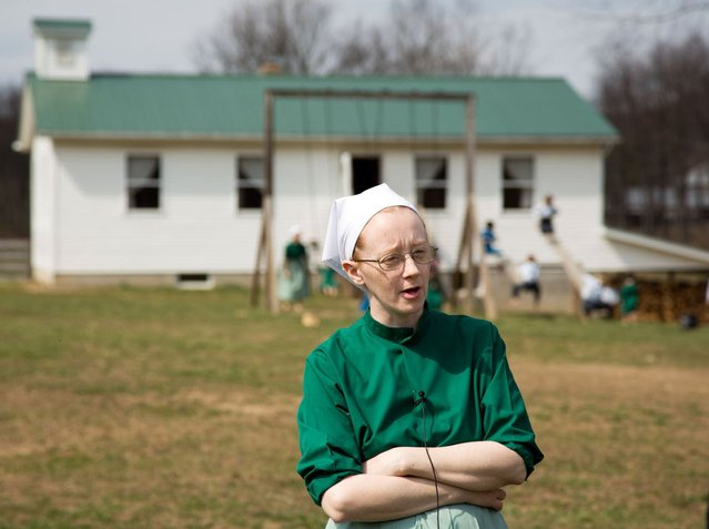 Emma Miller answers questions during an interview in Bergholz, Ohio on Tuesday, April 9, 2013. Miller was convicted and sentenced to prions for her role in the hair and beard cutting scandal against other Amish members. (Photo by Scott R. Galvin/AP Photo)