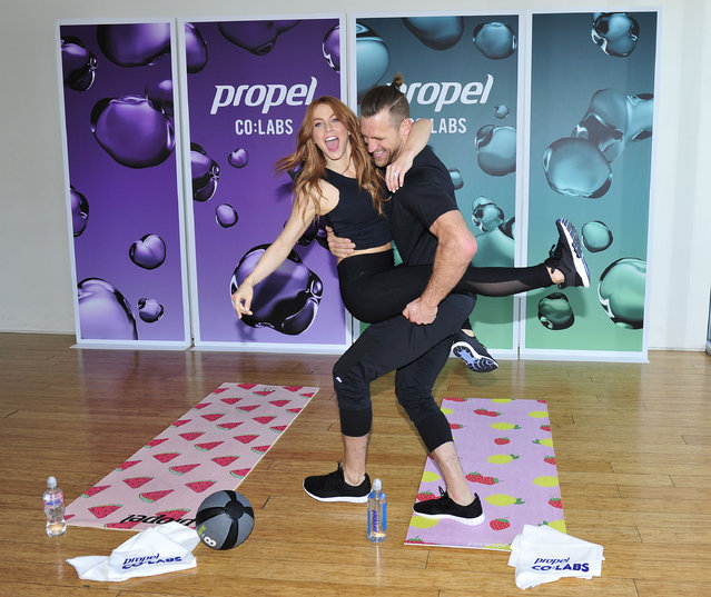 """Newlyweds Julianne Hough and Brooks Laich teamed up with Propel to showcase firsthand """"How Gatorade Does Water"""" in Los Angeles, CA on March 27, 2018. (Photo by Michael Simon/Startraksphoto.com)"""
