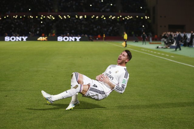 Sergio Ramos of Spain's Real Madrid celebrates after scoring against Mexico's Cruz Azul during their semi-final soccer match in FIFA Club World Cup at Marrakech stadium December 16, 2014. (Photo by Youssef Boudlal/Reuters)