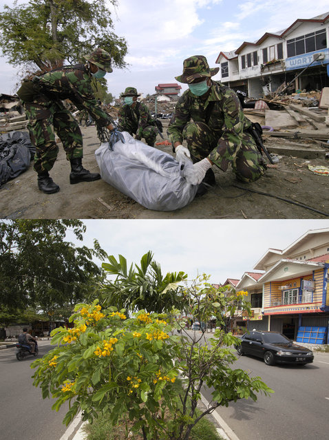 TOP IMAGE: Indonesian Army bag a body during clean up efforts after the Tsunami in Banda Aceh, 150 miles from southern Asia's massive earthquake's epicenter on Tuesday January 4, 2005 in Banda Aceh, Indonesia. BOTTOM IMAGE: Vehicles drive on Banda Aceh Medan Road prior to the ten year anniversary of the 2004 earthquake and tsunami on December 14, 2014 in Banda Aceh, Indonesia. (Photo by Stephen Boitano/Barcroft Media)