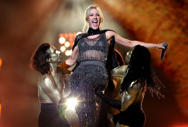 Ellie Goulding on stage at the Global Awards 2020 with Very.co.uk at London's Eventim Apollo Hammersmith on March 5, 2020. (Photo by Isabel Infantes/PA Images via Getty Images)