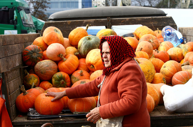A street seller waits for the customers at a market during the annual autumn agriculture fair in Minsk, Belarus October 8, 2016. (Photo by Vasily Fedosenko/Reuters)