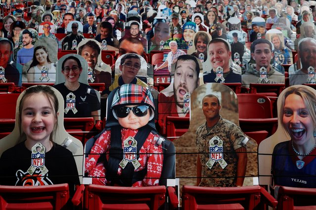 Cut-out photographs of fans fill some of the seats to maintain social distancing at Raymond James Stadium for Super Bowl LV in Tampa, Florida on February 7, 2021. (Photo by Shannon Stapleton/Reuters)