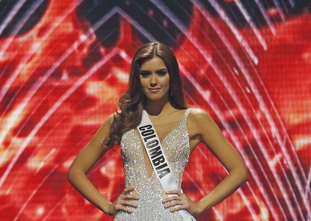Miss Colombia Paulina Vega poses after being named a top 5 finalist, on her way to be crowned as Miss Universe, at the 63rd Annual Miss Universe Pageant in Miami, Florida, January 25, 2015. (Photo by Andrew Innerarity/Reuters)