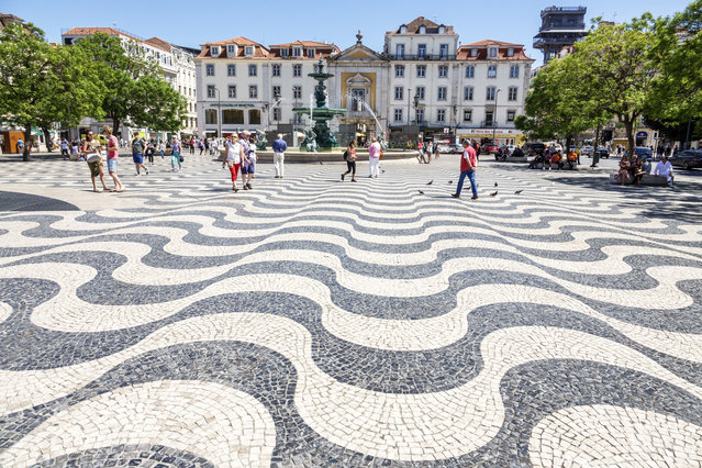 Portugal, Lisbon, Rossio Square, traditional-style mosaic pavement, 2017. (Photo by Jeffrey Greenberg/UIG via Getty Images)