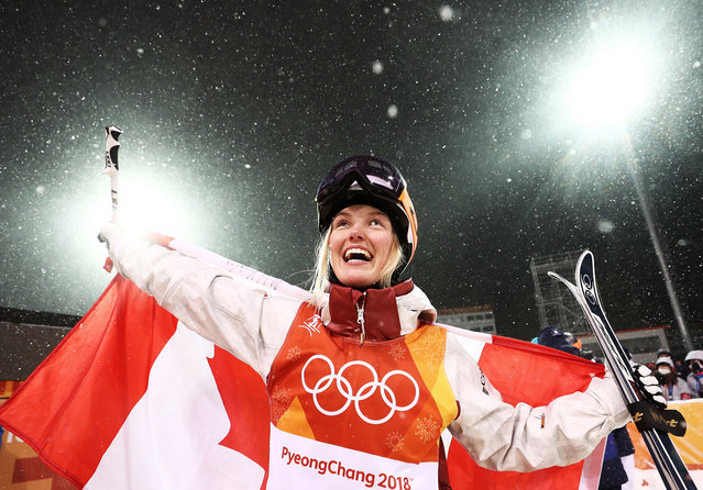 Silver medalist Justine Dufour-Lapointe of Canada celebrates during the victory ceremony for the Freestyle Skiing Ladies' Moguls Final on day two of the PyeongChang 2018 Winter Olympic Games at Phoenix Snow Park on February 11, 2018 in Pyeongchang-gun, South Korea. (Photo by Ryan Pierse/Getty Images)