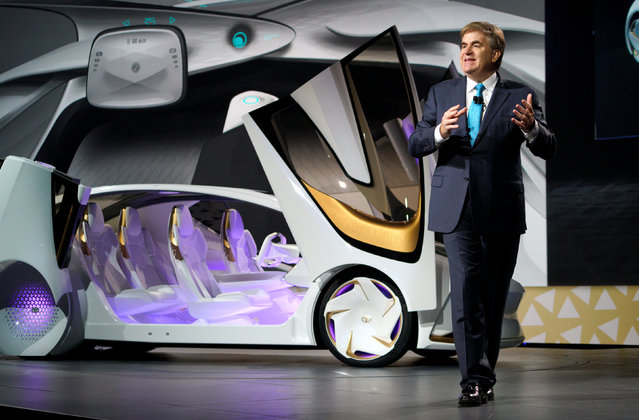 Bob Carter, Senior Vice President of automotive operations at Toyota, unveils the new Toyota Concept-i concept car, designed to learn about its driver, during the Toyota press conference at CES in Las Vegas, January 4, 2017. (Photo by Rick Wilking/Reuters)