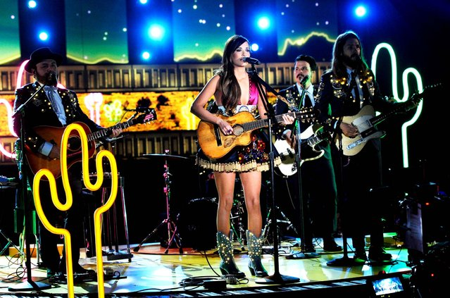 Kacey Musgraves performs during the show. She won best country album and best country song. (Photo by Kevork Djansezian/Getty Images)
