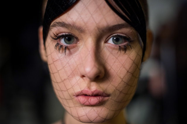 A model waits backstage during a show of the third bi-annual Budapest Central European Fashion Week in Budapest, Hungary, 30 March 2019. (Photo by Zoltan Balogh/EPA/EFE)