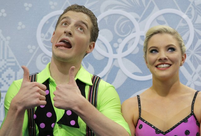 Danielle O'Brien and Gregory Merriman of Australia wait in the results area after competing in the ice dance free dance figure skating finals at the Iceberg Skating Palace during the 2014 Winter Olympics, Monday, February 17, 2014, in Sochi, Russia. (Photo by Vadim Ghirda/AP Photo)