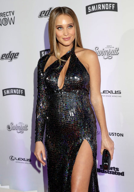 2017 Sports Illustrated Swimsuit Issue model Hannah Jeter poses for photographers at a launch event for the  Swimsuit Issue in New York City, U.S., February 16, 2017. (Photo by Mike Segar/Reuters)