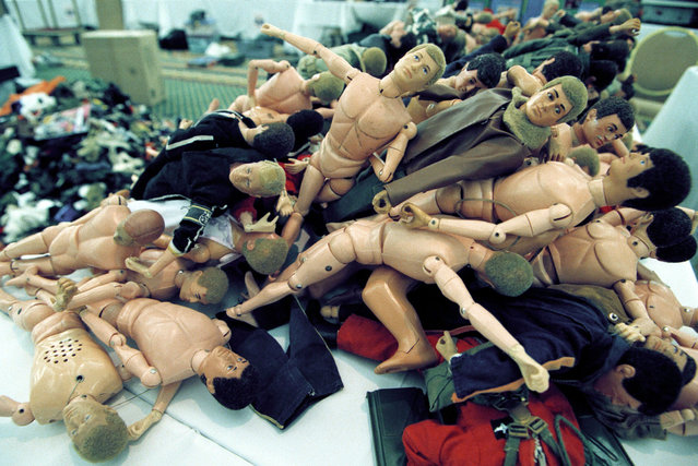 Old G.I. Joe dolls wait for collectors at the International G.I. Joe Collector's Convention in Washington DC July 30, 1999. (Photo by Mike Holmes/Getty Images)