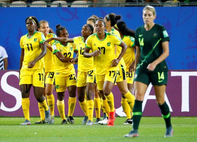 Havana Solaun of Jamaica celebrates scoring her side's first goal with team-mates during the 2019 FIFA Women's World Cup France group C match between Jamaica and Australia at Stade des Alpes on June 18, 2019 in Grenoble, France. (Photo by Emmanuel Foudrot/Reuters)