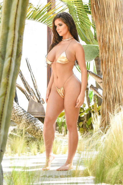 Model Demi Rose proved she's got the Midas touch as she posed in a gold bikini in Los Angeles, California at the weekend, June 28, 2019. The Birmingham-born beauty sent temperatures soaring as she showed off her curves in metallic swimwear during a photoshoot for her new bikini range with fashion brand Oh Polly. (Photo by KP Pictures)