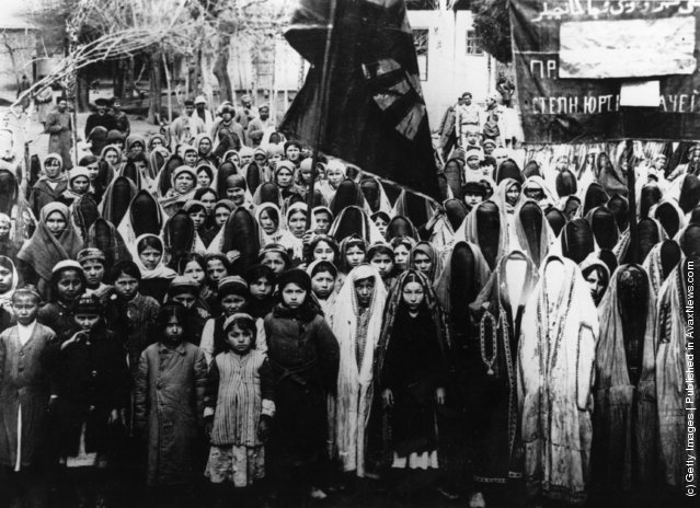 Kurdistani women at a demonstration in Iran, near the Russian frontier, demanding equal rights for women (1960).  The women, some of whom have eschewed the veil, carry a banner written in both Arabic and Russian