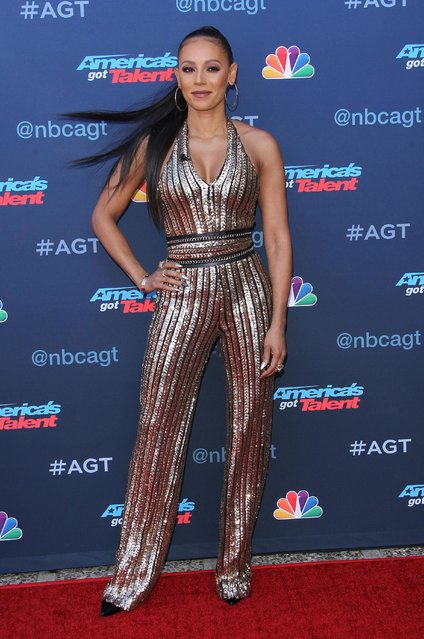 """Mel B attends NBC's """"America's Got Talent"""" season 12 kickoff at Pasadena Civic Auditorium on March 27, 2017 in Pasadena, California. (Photo by Splash News and Pictures)"""