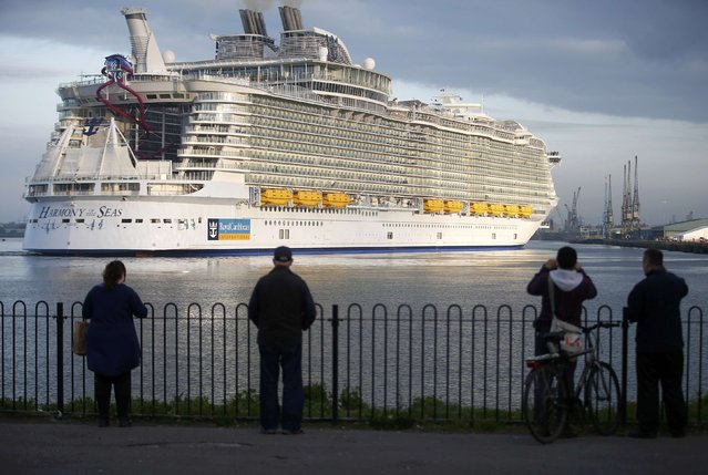The worlds largest cruise ship, the 361 metres long, Harmony of the Seas, arrives in port  for her mayden voyage, in Southampton, Britain May 17, 2016. (Photo by Peter Nicholls/Reuters)