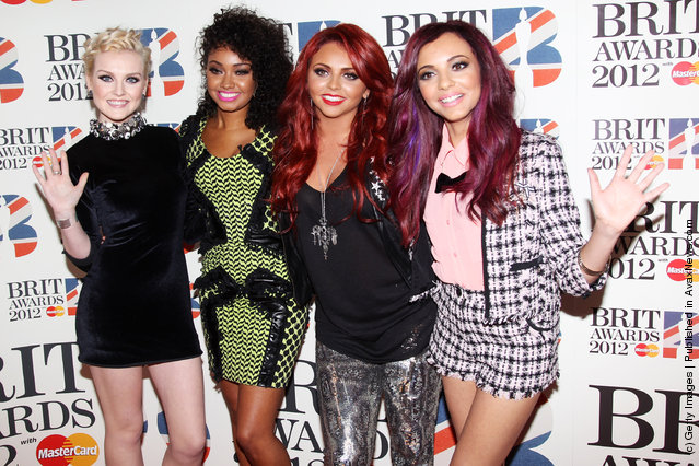 L-R Perrie Edwards, Leigh-Anne Pinnock, Jesy Nelson and Jade Thirwell of Little Mix attend The Brit Awards 2012 at The O2 Arena