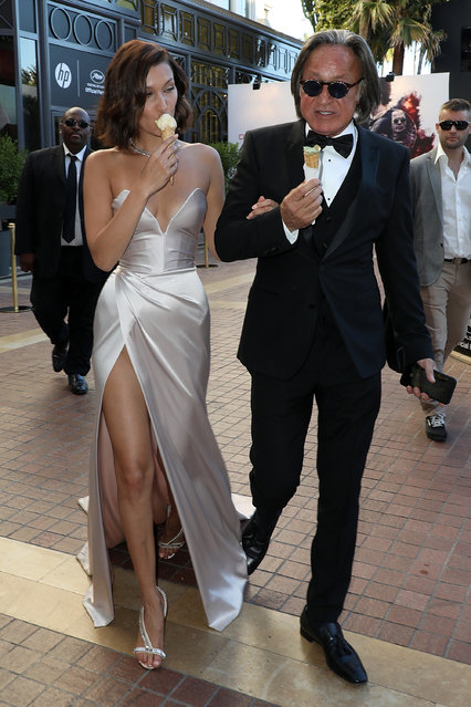 """Mohamed Hadid and his daughter Bella are spotted at the """"Majestic"""" hotel during the 70th annual Cannes Film Festival at on May 17, 2017 in Cannes, France. (Photo by Pierre Suu/GC Images)"""