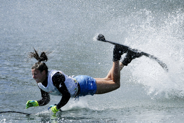 The United States' Regina Jaquess falls during the slalom portion of the women's overall water ski competition in the Pan Am Games in Toronto Wednesday, July 22, 2015. (Photo by Gregory Bull/AP Photo)
