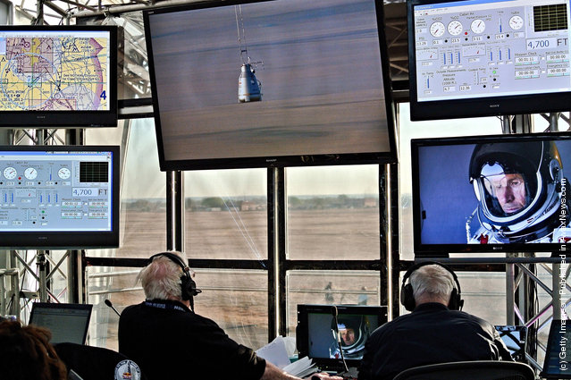 The mission control room is seen during the first manned test flight for Red Bull Stratos