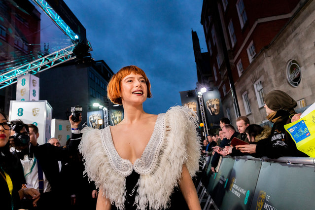 Jessie Buckley in Miu Miu attends the EE British Academy Film Awards 2020 at Royal Albert Hall on February 02, 2020 in London, England. (Photo by Jamie Simonds/Bafta/Rex Features/Shutterstock)