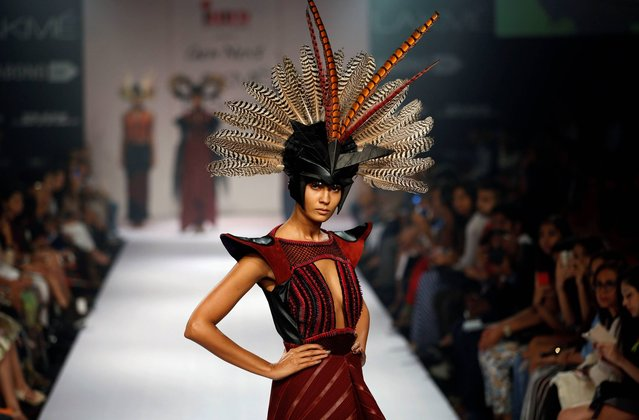 A model displays a creation by a Gen Next designer during the first day of the Lakme Fashion Week in Mumbai, India, Wednesday, August 20, 2014. (Photo by Rajanish Kakade/AP Photo)