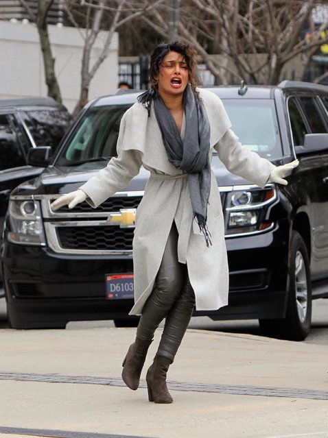 """Priyanka Chopra, Jake McLaughlin, Johanna Braddy, Blair Underwood, Russell Tovey and Alan Powell pictured filming action scenes at the """"Quantico"""" set outside the Brooklyn Museum. Priyanka Chopra points a gun in one of the scenes. Brooklyn, New York City - Monday February 12, 2018. (Photo by JP/Pacific Coast News)"""