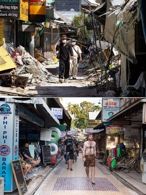 TOP IMAGE: People walks through the streets of Tsunami-damaged Phi Phi Village January 25, 2005 almost one month after the devastating Tsunami hit Ton Sai Bay in Kho Phi Phi, Thailand. Many are still missing after the waves slammed into Phi Phi village where many hotels, restaurants and shops were destroyed. Current figures put the death toll over 200,000 claiming victims in a dozen countries with over 5,000 deaths in Thailand alone. (Photo by Paula Bronstein/Getty Images)