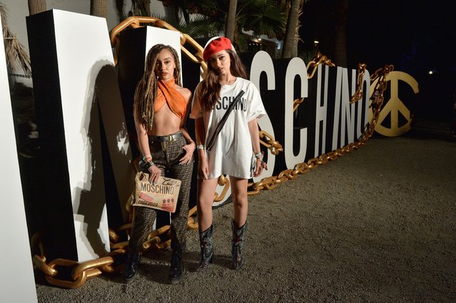 Little Mix stars Leigh-Anne Pinnock and Jade Thirlwall attend Moschino party at the Coachella Valley Music and Arts Festival in Indio, California, U.S., April 14, 2018. (Photo by WWD/Rex Features/Shutterstock)