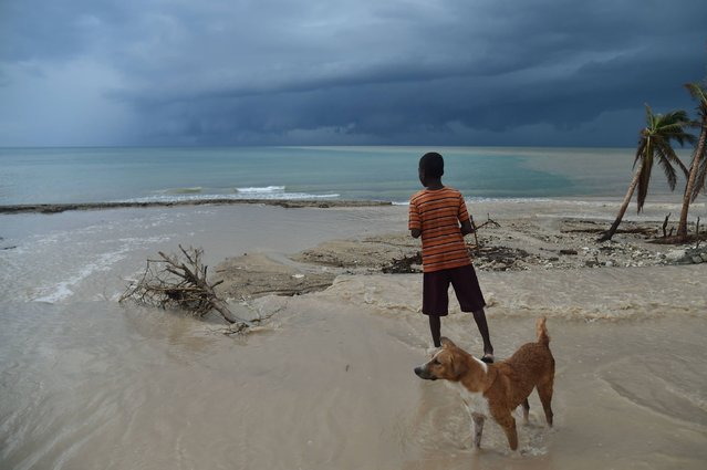 A child watching the sea while residents try to clear the bed of a river that has been blocked by debris left by Hurricane Matthew, in the commune of Roche-a-Bateaux, in the south west of Haiti, on October 21, 2016. At least 546 people were killed and more than 175,000 people lost their homes when Hurricane Matthew roared ashore on October 4, packing winds of 145 miles (230 kilometers) per hour. (Photo by Hector Retamal/AFP Photo)