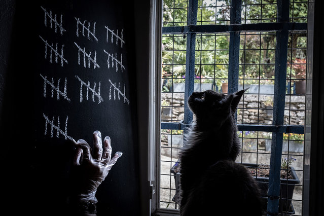 A person, watched by his cat, marks the days spent in confinement in his home in Givors near Lyon, France, on May 5, 2020. (Photo by Jean-Philippe Ksiazek/AFP Photo)