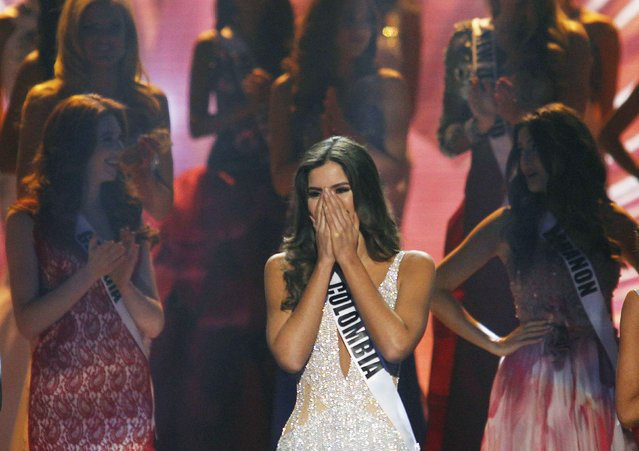 Miss Colombia Paulina Vega reacts just before being crowned the winner at the 63rd Annual Miss Universe Pageant in Miami, Florida, January 25, 2015. (Photo by Andrew Innerarity/Reuters)