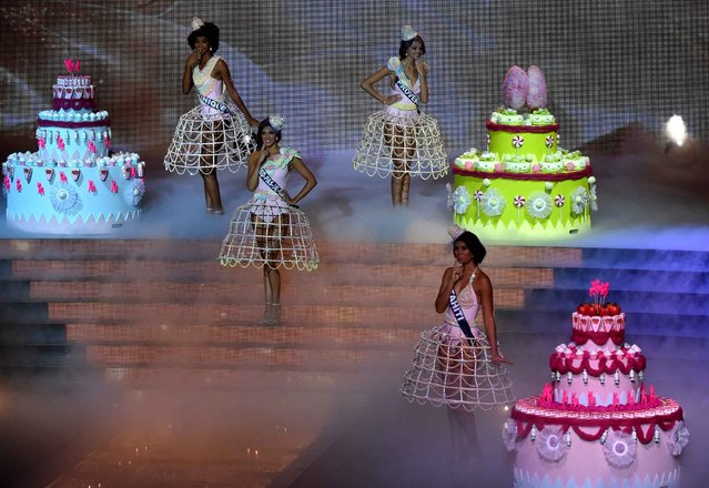 Contestants appear on stage during the Miss France 2016 beauty contest on December 19, 2015 in Lille. (Photo by Philippe Huguen/AFP Photo)