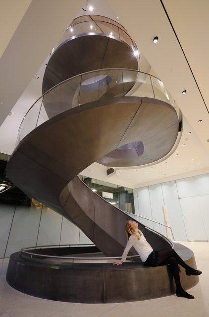 Wellcome Collection staff member Emily Pritchard poses on a new spiral staircase on February 12, 2015 in London, England. (Photo by Dan Kitwood/Getty Images)