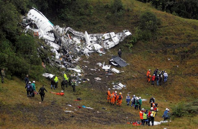 Wreckage from a plane that crashed into Colombian jungle with Brazilian soccer team Chapecoense is seen near Medellin, Colombia, November 29, 2016. (Photo by Fredy Builes/Reuters)