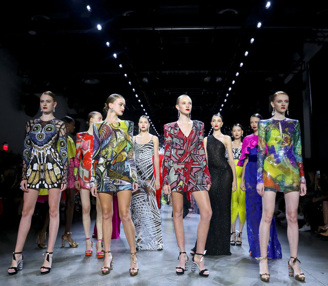 Fashion from the Naeem Khan collection is modeled during Fashion Week, Tuesday September 11, 2018, in New York. (Photo by Bebeto Matthews/AP Photo)