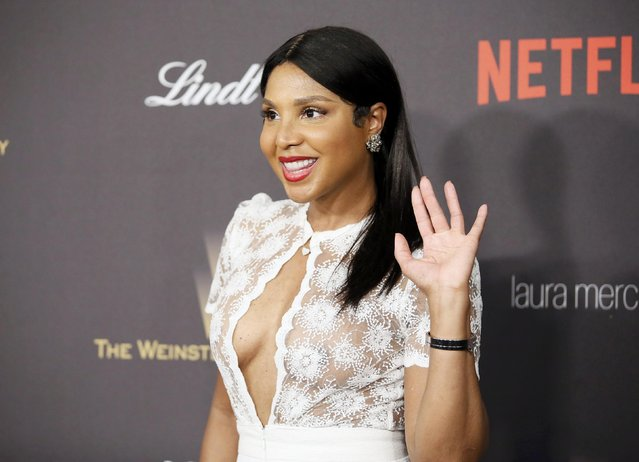Singer Toni Braxton arrives at The Weinstein Company & Netflix Golden Globe After Party in Beverly Hills, California January 10, 2016. (Photo by Danny Moloshok/Reuters)